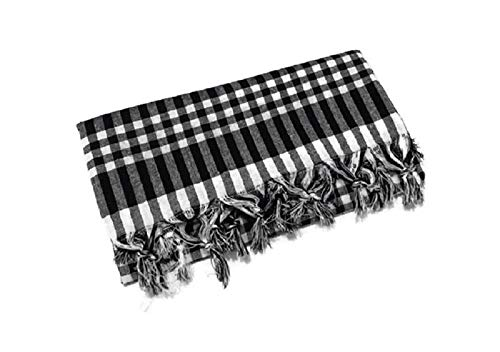 Tablecloth Linen Checked Plaid Table Cloth Dinner Summer Dining Tablecloth Picnic Throw Blanket Table Cover Gingham Check Buffalo Bohemian Checkered Retro Vintage Sofra (64x64, black)