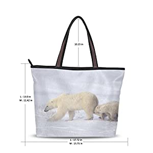 Women Large Tote Top Handle Shoulder Bags Polar Bear Ladies Handbag