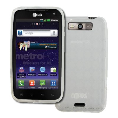 EMPIRE LG Connect 4G MS840 Poly Skin Case Cover (Clear Diamond Pattern) + Car Windshield Mounts [EMPIRE Packaging]