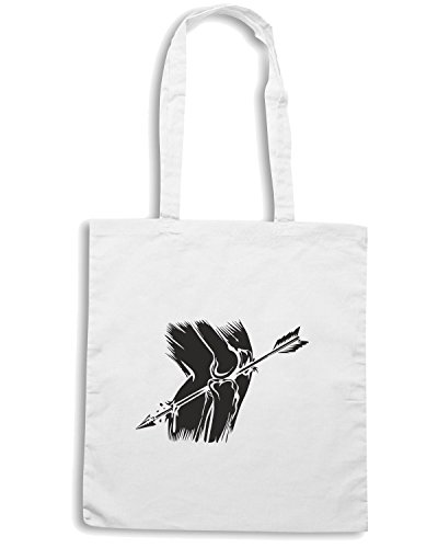 T-Shirtshock - Bolsa para la compra FUN0084 04 14 2013 Arrow Through Knee T SHIRT det Blanco
