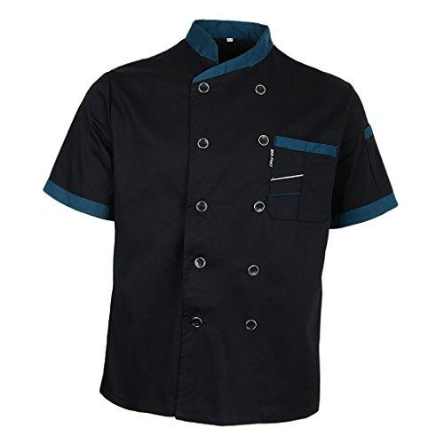 Chefs Jacket Executive (Prettyia Unisex Summer Breathable Executive Chef Jacket Coat Kitchen Bakery Uniform Short Sleeves 5 Colors Chef Apparel M-2XL - Black, M)