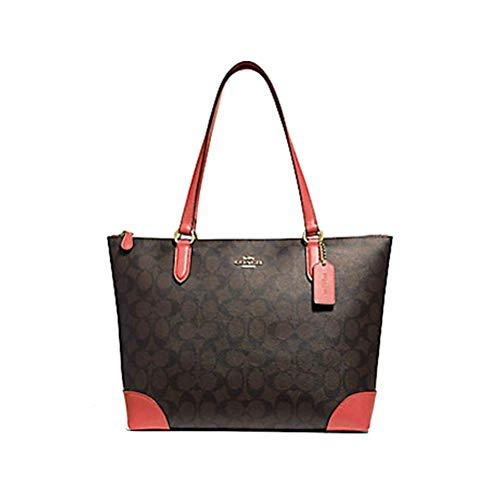 Coach Signature Zip Tote Shoulder Handbag (Brown/Coral), Medium