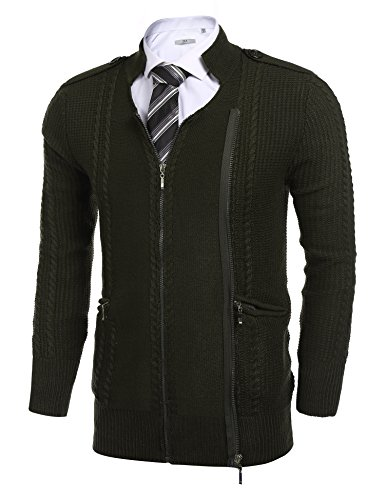 Coofandy Mens Long Sleeve Knitted Slim Fit Cardigan Sweaters with Double Zippers