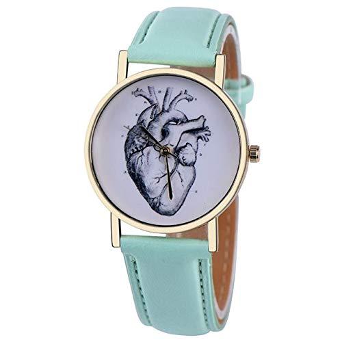 DressLksnf_Reloj Moda para Mujer Pulsera del Reloj Metal Durable Brazalete de Reloj Bonito Cadena de Cuero Elegante Superficie de Corazón Original: ...