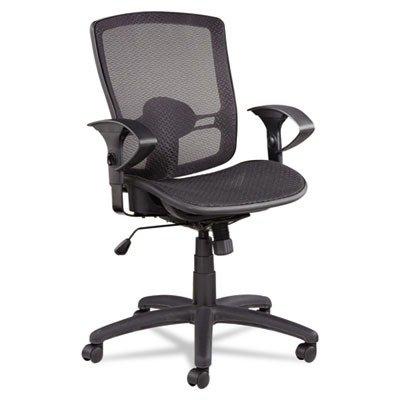 Alera ET4218 Etros Series Mesh Mid-Back Synchro Tilt Chair, Mesh Back/Seat, Black by Alera