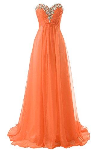 Trägerlos JAEDEN Damen Orange Ballkleid Chiffon Abendkleid Brautjungfernkleid Lang qvxwvXAB
