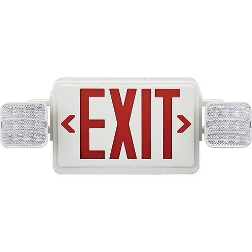 amazon com combo led emergency exit sign red letters w battery