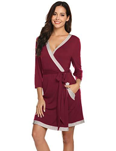 (Women Soft Cotton Bathrobe 3/4 Sleeves Sleepwear Loungewear Long Wine Red-S)