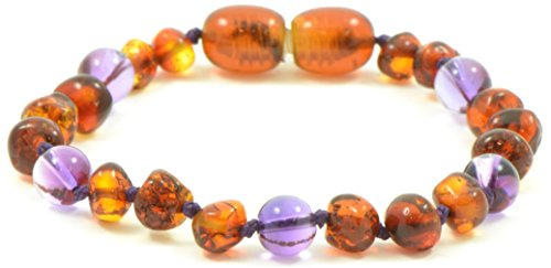 (Baltic Amber Teething Bracelet/Anklet Mixed Semi Precious Stones - Hand-Made from Certified Natural Baltic Amber Beads (4.7 inches (12 cm), Cognac/Amethyst))