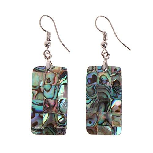 Shape Rectangle Earrings (ForHe 1 Pairs of 29x15mm Rectangle Shape Colorful Natural Abalone Shell Swings Dangle Earrings For Women)