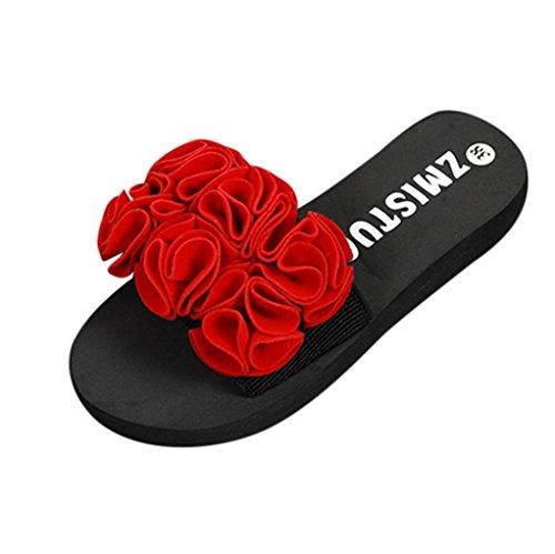 夏靴、aimtoppyレディース花厚い底サンダルスリッパインドアアウトドアフリップフロップビーチ靴 US:7 ブラック AIMTOPPY