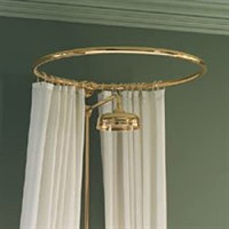 Round curtain rail wall fixing in polished brass/gold: Amazon.co.uk ...