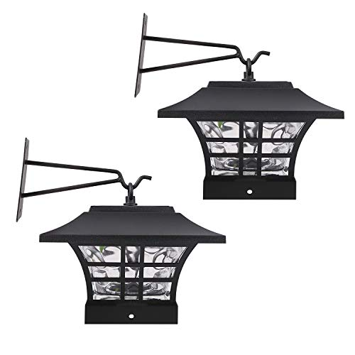 - HECARIM Hanging Solar Lantern Lights, Outdoor Decorative LED Solar Powered Garden Lantern for Patio Landscape Yard with Wall Mount Kit, 2 Pack