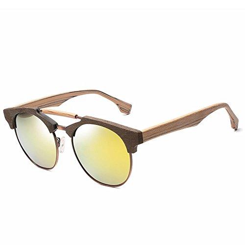 de de y Gafas de Un tamaño sol sol oro con doble té de montura YINGM Película madera polarizadas grande de montura unisex Pieza con Gafas estilo Gafas de sol O58w8qd