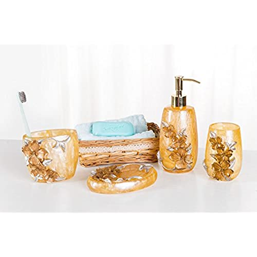 SILOKO 4 Piece Bathroom Accessory Set 3D Silveru0026Gold Floral With Soap  Dispencer,Toothbrush Holder,Tumbler And Soap Dish