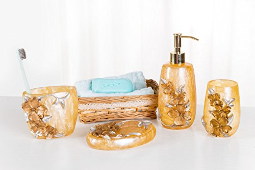 SILOKO 4 Piece Bathroom Accessory Set 3D Silver&Gold Floral