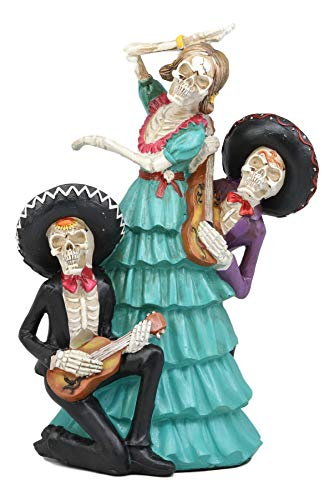 Ebros Gift Day of The Dead DOD Traditional Holiday Celebration Vivas Calacas Sugar Skull De DAMA Dancer with Mariachi Band Musicians Skeletons Figurine 12