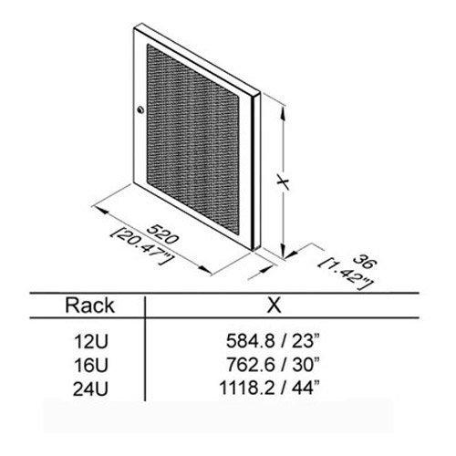 Penn-Elcom R8460-12 Vented Steel Door 12 Space (12RU)