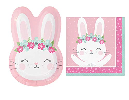 Bunny Party Supplies: Bundle Includes: Shaped Bunny Plates and Napkins for 16 Guests (Shaped Plate)]()