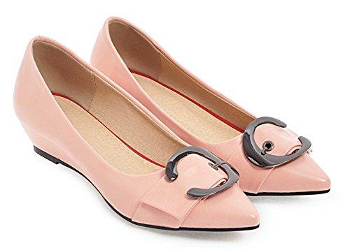 Aisun Donna Comfort Taglio Basso Fibbia Scarpe A Punta Tacco Basso Eleganti Scarpe Con Zeppa Scarpe Rosa