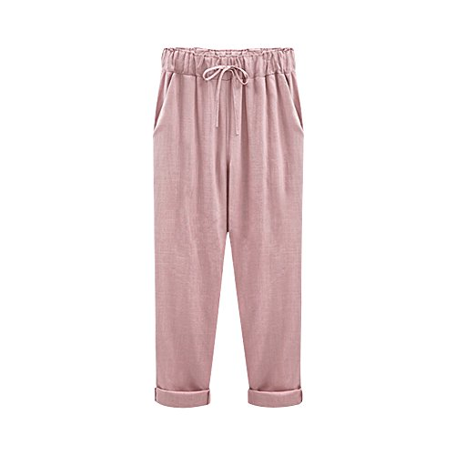 Sobrisah Women's Elastic Waist Casual Relax Capris Pants Cotton Linen Cropped Pants with Drawstring Pink Three Quarter Length Tag XL-US 6 (Cotton Pants Sailor)