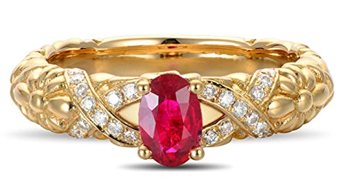 - Epinki 18k Gold Women Daisy Flower Pattern Ring Proposal Ring Diamond Gold with White Red Ruby Ring Size 8
