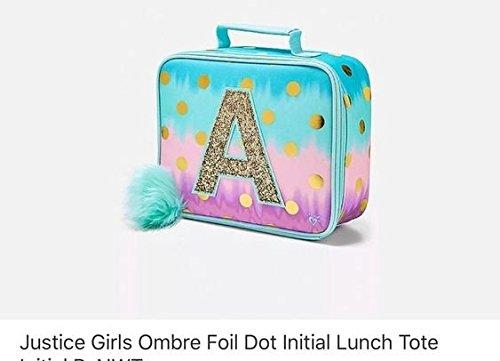 Justice Lunch Tote Dot Ombre Foil Letter Initial A (Foil Dots)