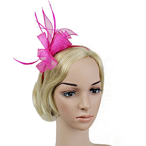 Song Feather Satin Fascinator Bow Net Hat Hair Clip Women Cocktail Wedding Party Headwear Rose (Beaded Satin Hat)
