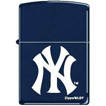 """Zippo """"New York Yankees"""" Logo Navy Blue Matte Lighter, 8260"""