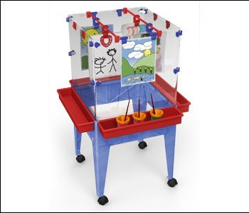 Manta Ray S13870 Youth 4 Station Space Saver Easel with 9 in. deep clear tub
