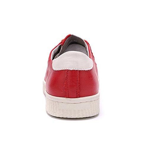 ICEGREY Herren Sneaker Low-Top Schuhe Leder Bässe Laufschuhe Rot 42