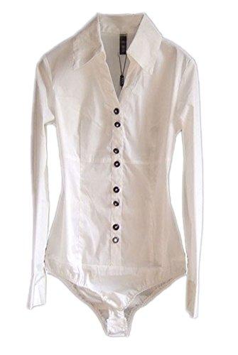 Soojun Women's Long Sleeve Easy Care Work Bodysuit Shirt Size US 8 Style 3-White