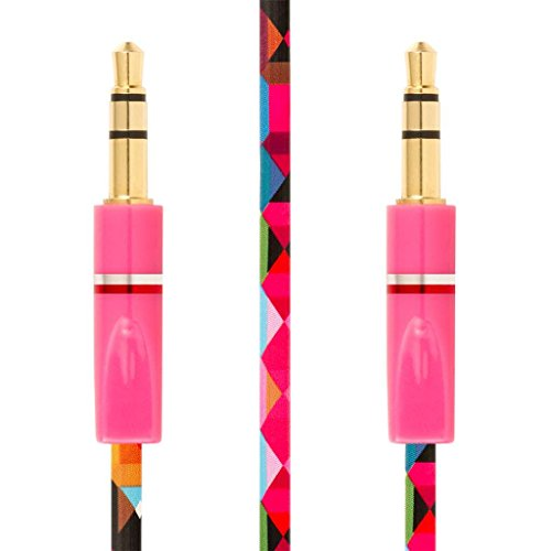 EMPIRE FLATZ 3.5mm Stereo Male to Male Auxiliary Cable - Pink Geometric