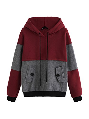 SweatyRocks Women's Colorblock Long Sleeve Pullover Fleece Sweatshirt Hoodies Burgundy Grey S