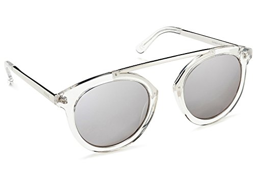 Beach Gal Round Sunglasses With High Bridge For Women - DARK Polarized Mirrored Lens, CLEAR/SILVER - Tint Very Dark Sunglasses