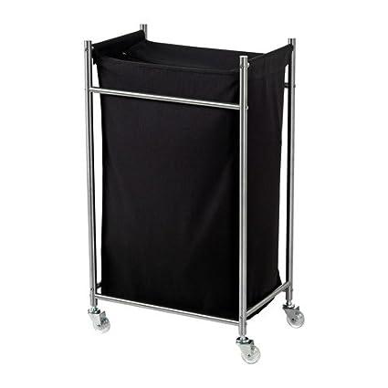 IKEA GRUNDTAL - Bolsa para ropa sucia con ruedas, acero inoxidable, negro - 70
