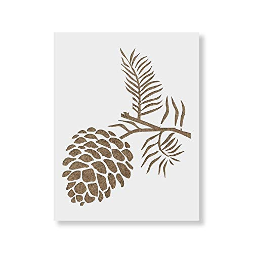 Pine Cone Stencil Template for Walls and Crafts - Reusable Stencils for Painting in Small & Large Sizes