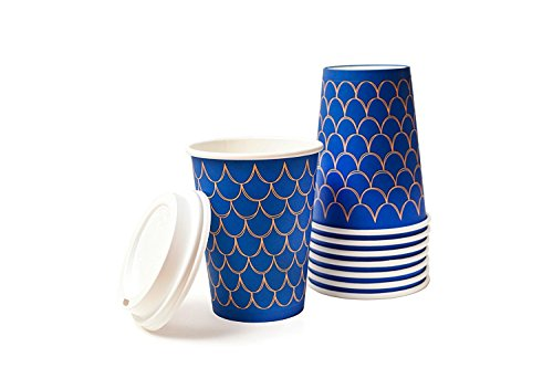 12 Ounce Beverage (Disposable Insulated Paper Coffee Cups - Quantity 100 cups per pack-12 oz. Cups & Lids - Stylish and Elegant! Perfect For On-The-Go Hot or Cold Beverages. Best Quality and FDA Certified.)