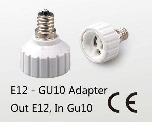 Halica 10pcs/lot passed CE ROHS E12 to GU10 lamp adapter holder socket converter