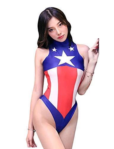 Captain America Bodysuit Costume (Lucky2Buy Women's One-Piece High Cut Superhero Cosplay Swimsuit Leotard Bodysuit)