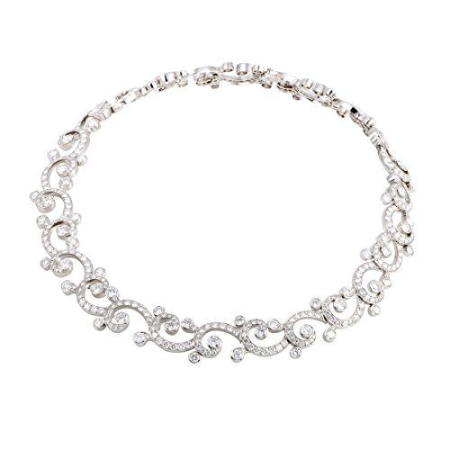 CARTIER Dentelle Womens Platinum Full Diamond Pave Collar Necklace