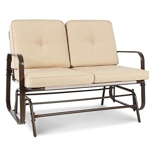 Best Choice Products 2-Person Outdoor Patio Loveseat Glider Rocking Chair Bench - Beige ()