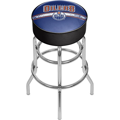 Trademark Gameroom NHL Edmonton Oilers Chrome Bar Stool with Swivel