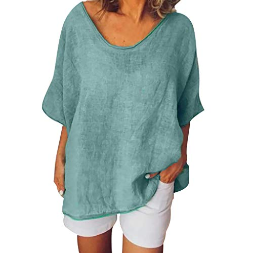 Toimothcn Women Short Sleeve Plus Size Tunic Tops Casual O-Neck Solid T-Shirt Blouse(Green,XXXL) (Nautical Sweatpants)