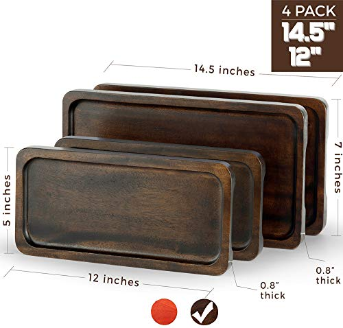 "FANICHI Serving Tray Set of 4 (14"" & 12"") Serving Platter Solid Natural Wood for Food Holder/BBQ/Party Buffet, Avoid Sliding Spilling Food with Easy Carry Grooved Handle Design (Walnut Color)"