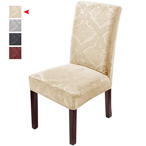 Delight Dining Room Chair Covers,Velvet Stretch Chair Protector,Non-slip Removable Washable(4PCS-Beige)