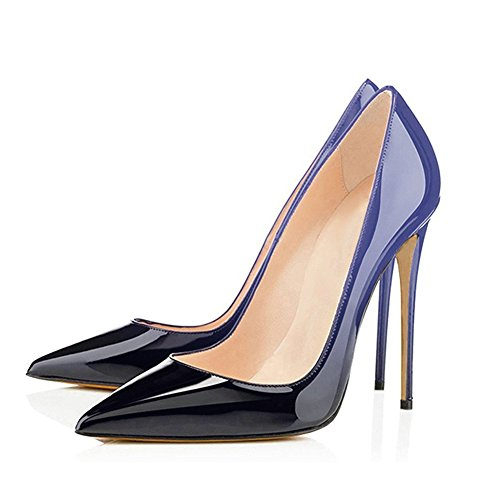 Dress Black UMEXI Shoes Wedding Plus Pumps Blue High Size Party Stilettos to Heels Slip Pointed on Toe Women PF1rZWPv