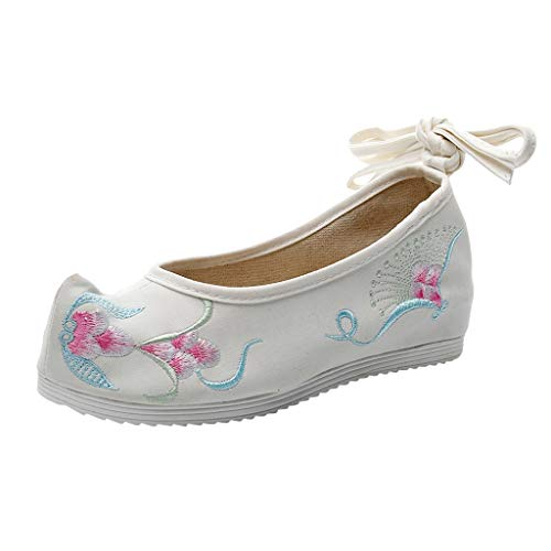 Orangeskycn Women's Hibiscus Embroidered Flat Shoes Casual Lace-up Shoes Floral Print Antique Retro Soft Bottom Dance Shoes White