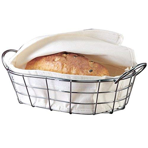 Oval Metal Wire Bread Box, Fruit Basket For Baguette, Sourdough, Food | Pantry Basket, Kitchen Storage and Counter Display | Restaurant Quality Metal Basket With Linen Material Insert.