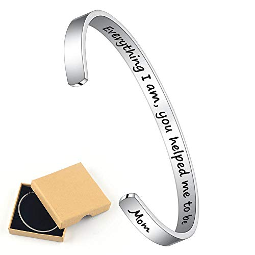 M MOOHAM Inspirational Bracelet for Mom Gifts - Everything I Am,You Helped me to Be Engraved Mantra Quote Cuff Bracelet...